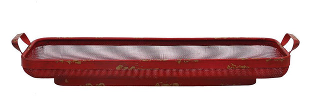 Vintage Inspired Metal Mesh Red Tray with Handles