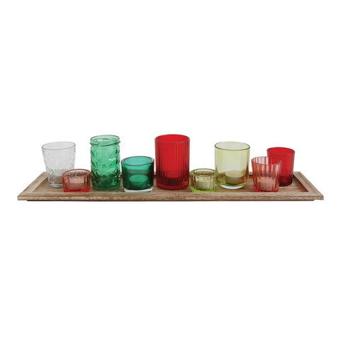 Wood Tray w/red & green glass votives
