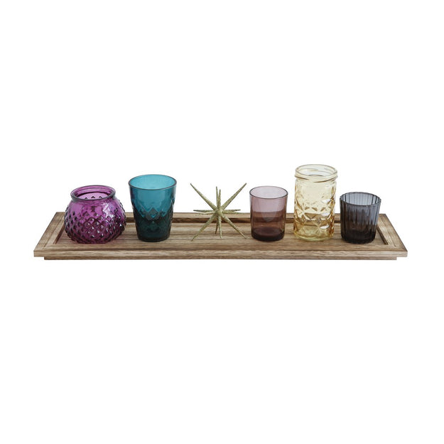 Wood Tray w/glass votives & star
