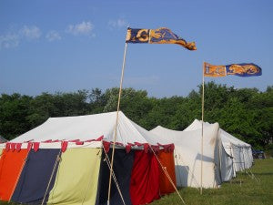 We travel! You can find our tent at events...just look for the crazy colors and the flying Linengarb standards.