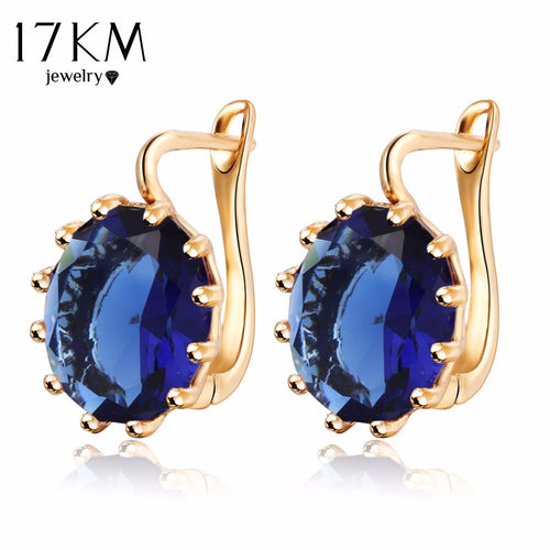 4 Colors Steampunk Gold Color Blue Crystal Flower Stud Earrings for Women