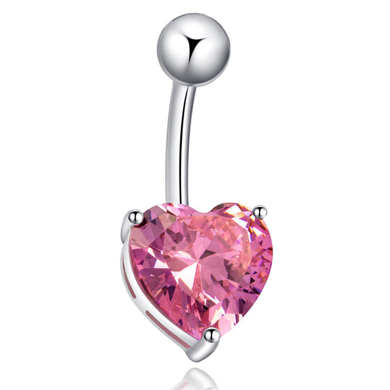 Love Heart belly button rings Bar Gold / Silver Plated Surgical Piercing