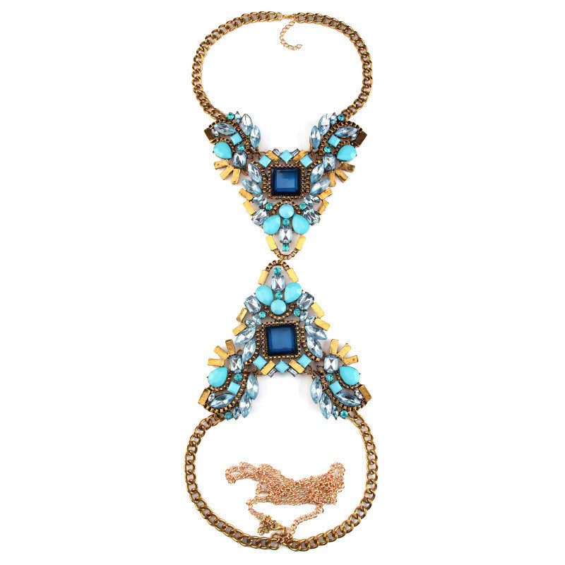 2017 New Exaggerated Long Body Chain Necklace Luxury Flower for Women