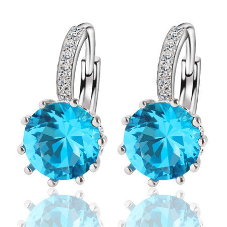 Fashion Alloy Silver Color 10 Color Geometry Crystal Earring (Round Zirconia)