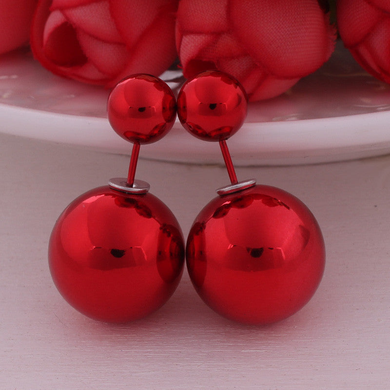 12 Colors Super Shining UV Double Sides Big Pearl Stud Earrings, Classic Double Ball Beads Earrings