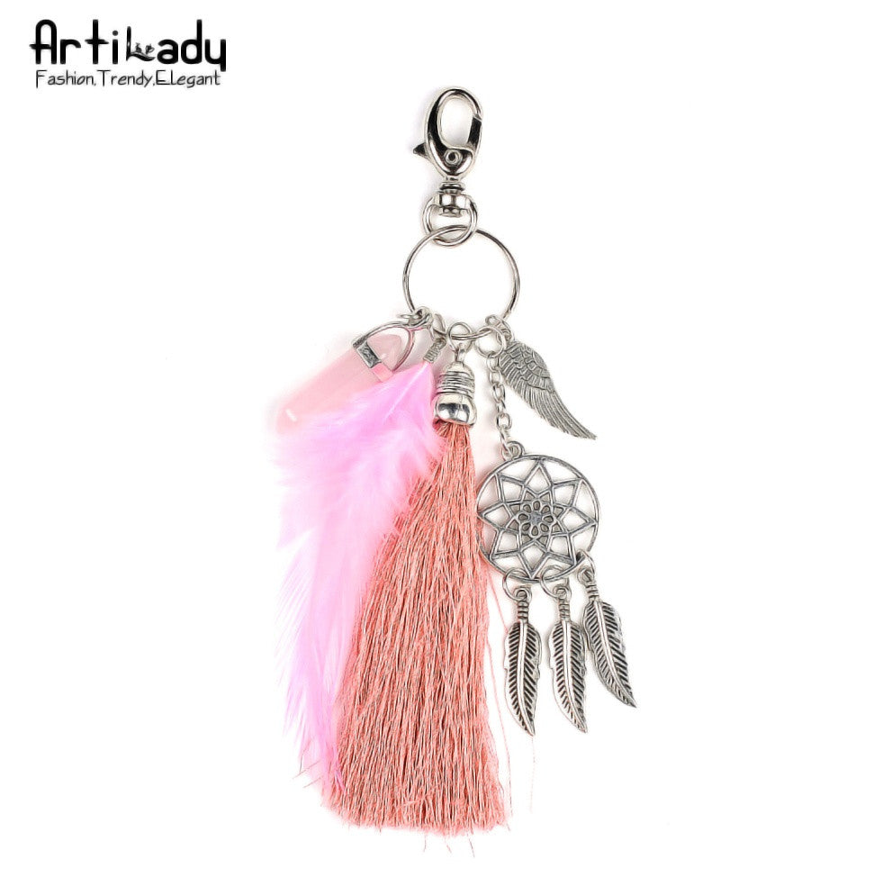 Feather keychain,  opal stone dreamcatcher fashion keyring