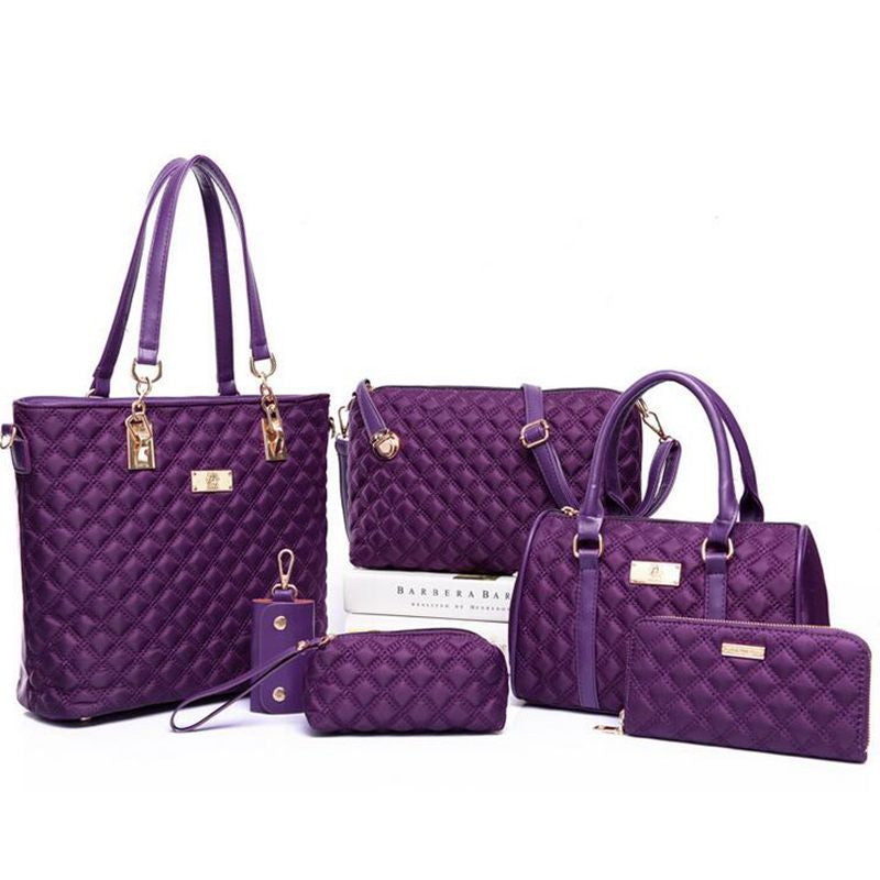6 sets Fashion Diamond Lattice Women Bags