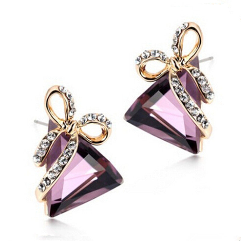 Austrian Crystal Gold Triangle Bow Earrings For Women (2017 Popular Rhinestone Stud Earrings Jewelry)