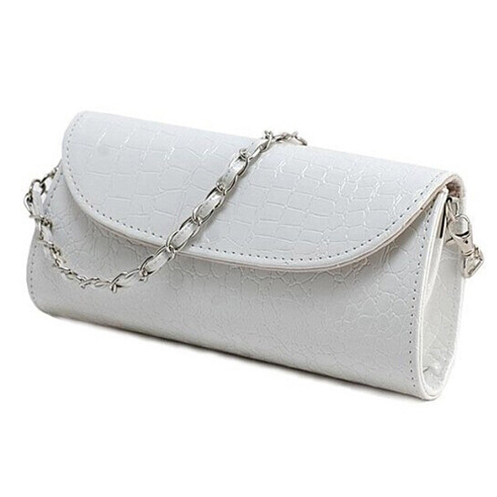 Fashion Designer Crocodile Pattern Shoulder Chain PU Leather Clutch