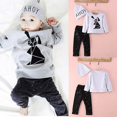 3 pcs Organic Tops Long Sleeve Geometric Bunny Printed T-shirt + Pants + Cap Outfits (Set)
