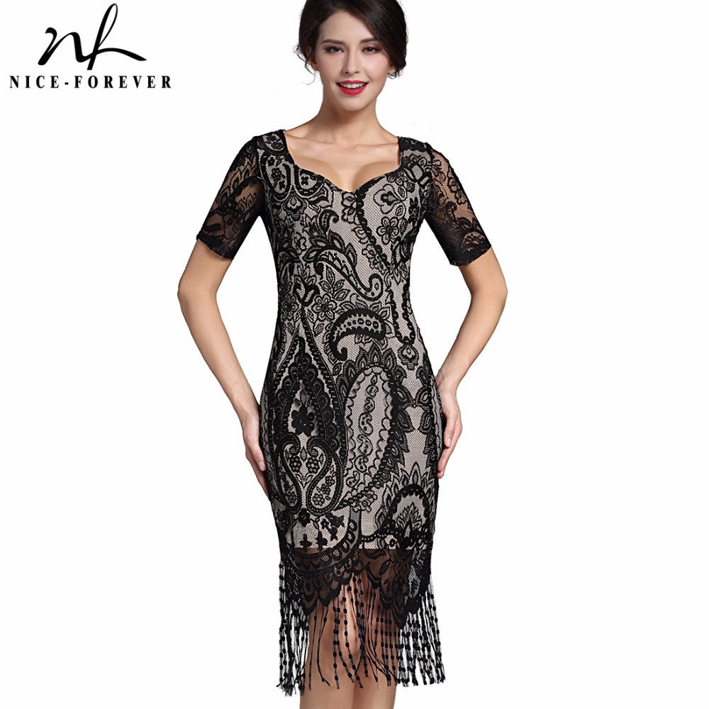 Sexy Lace Tassel Vintage Dress (V-Neck Stylish Short Sleeve Zipper Club wear)