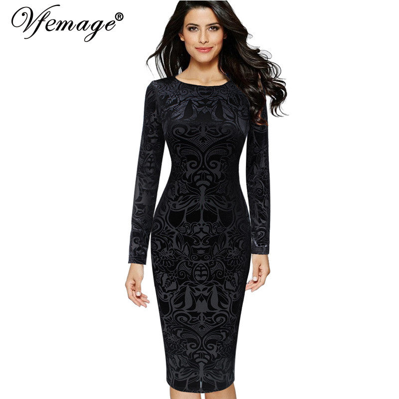 Elegant Vintage Retro Brocaded (Velvet Slim Casual Party Dress)