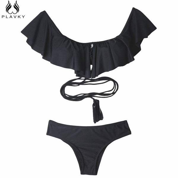 2017 Sexy Off Shoulder Ruffled Bandeau Thong Bikini Strap Swimsuit
