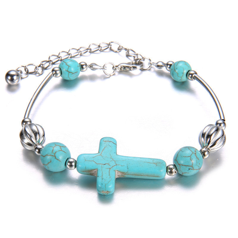 New 2017 Fashion Turquoise Cross Bracelets (Women Vintage Silver Beads Chain  Bangles Jewelry)
