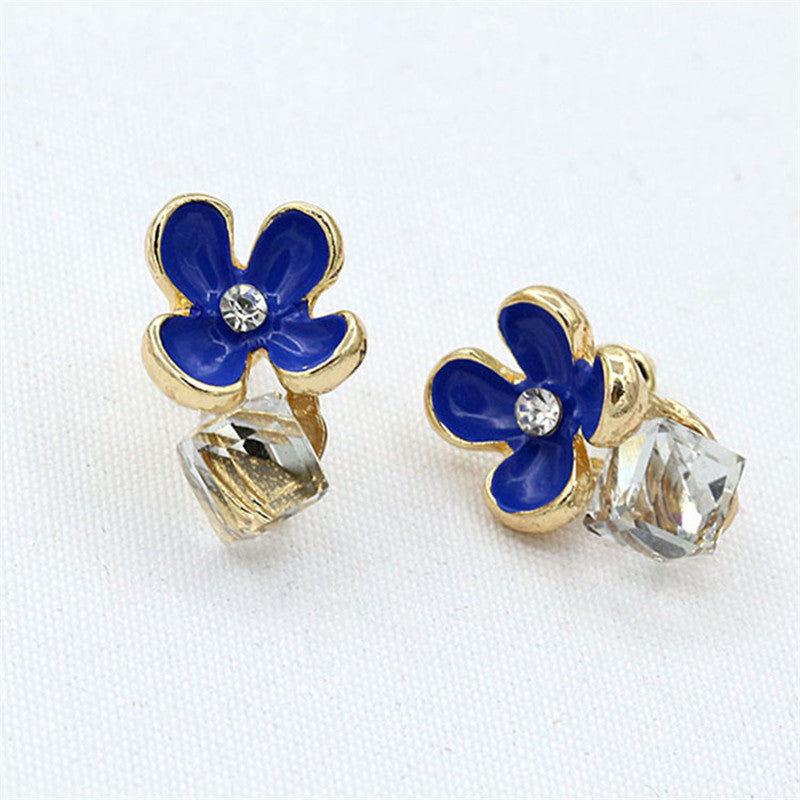 Fashion Beautiful Crystal Flower Earrings for Women High Quality Stud Earring