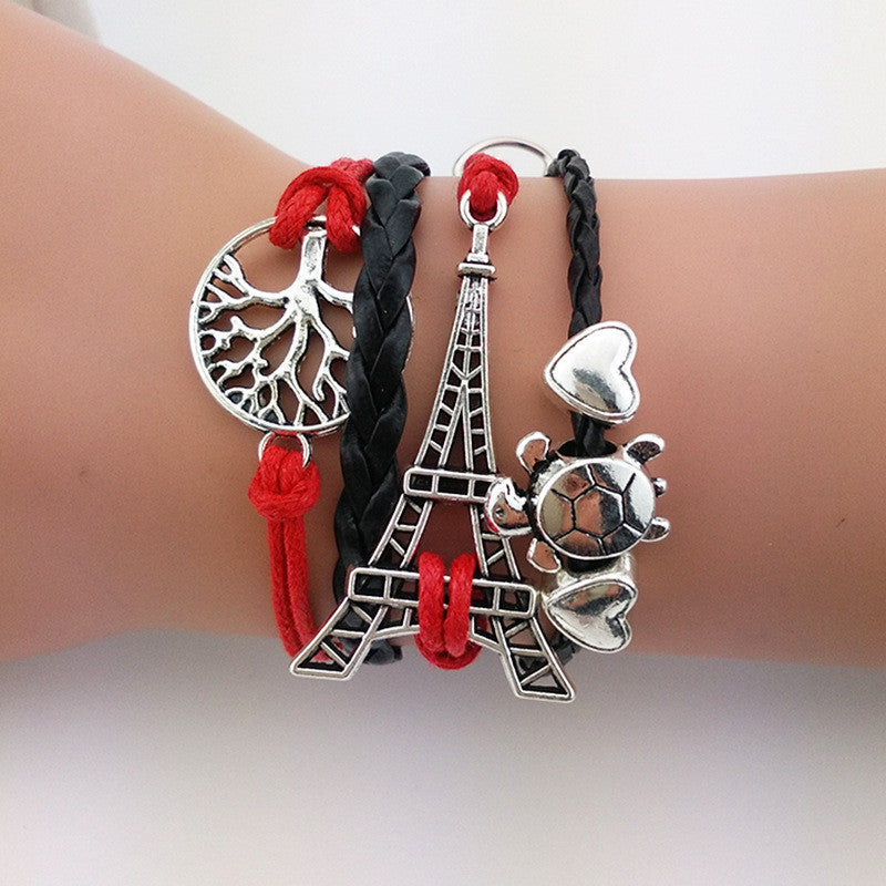 Eiffel Tower, Turtle & Tree Bracelet