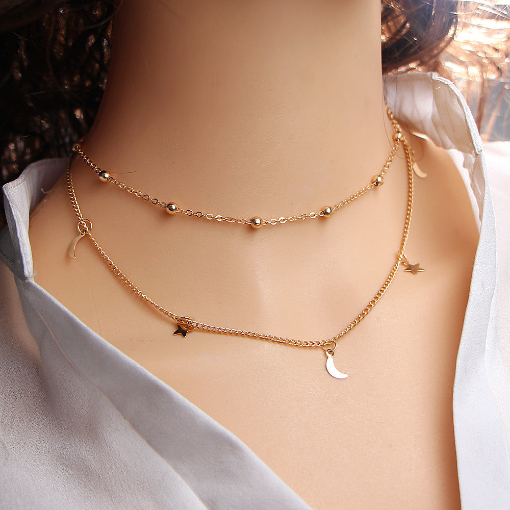Gold Color Multi Layer Star Moon Leaf Steampunk Choker Necklace for Women