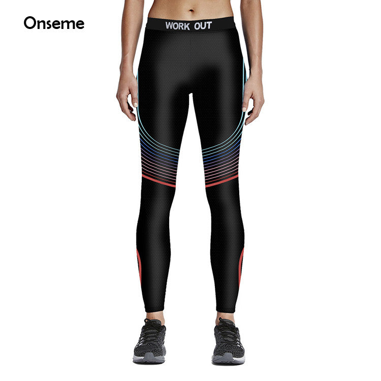 Women Fashion Rainbow Stripe Splice Fitness Leggings (Workout Pants Colorful 3D Printed)