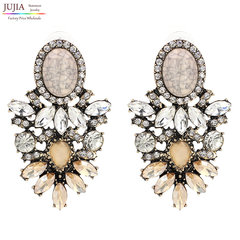 Big crystal earring 2017 New statement fashion stud Earrings for women
