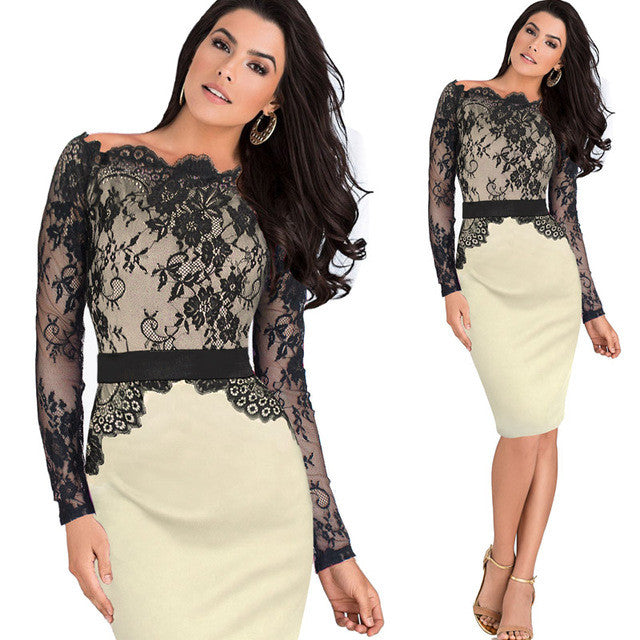 Elegant Pinup Vintage Retro Lace Off Shoulder Patchwork Party Fitted Dress