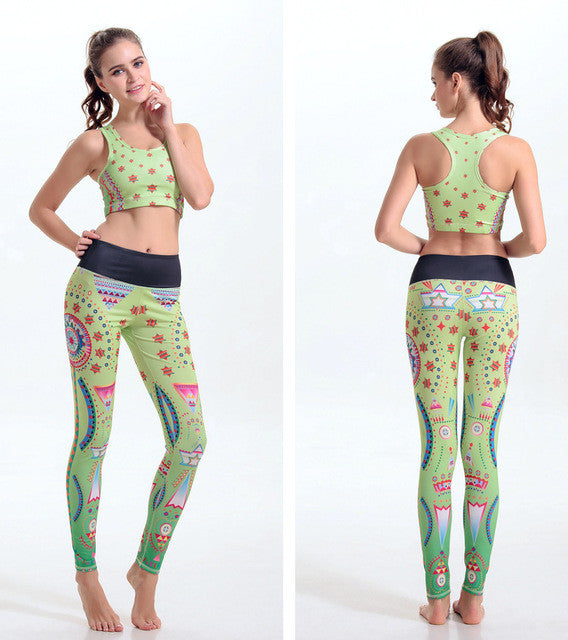 Pink Women Sport Yoga Set (Digital Printing - Running Sports Bra + Short set)