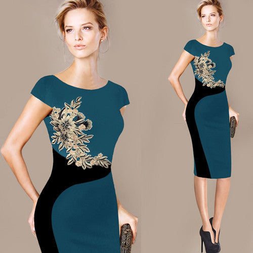 Embroidered Contrast Slim Casual Work (Special Occasion Party Pencil Dress)