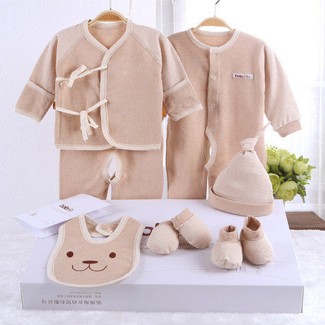 Organic cotton baby 7 pieces sets infants clothing gift box