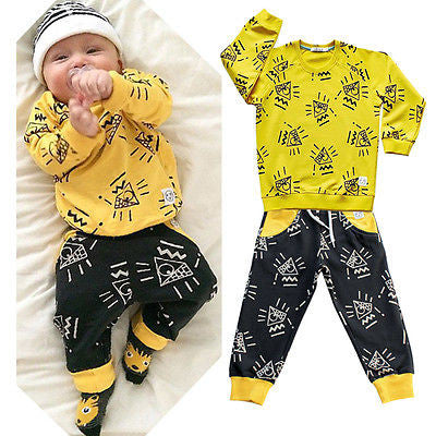 Cute Organic Infant Outfits Pullover + Pants Sets outfit Suit  (2 Pcs)