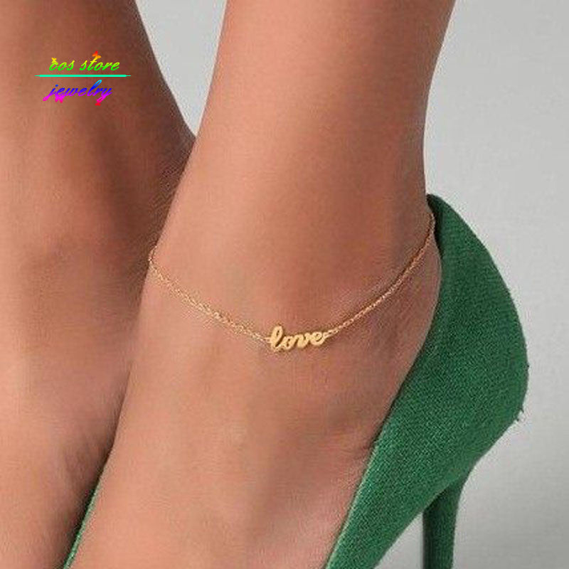 2017 New Summer Style Gold/Silver/Black Plated LOVE Letter Statement Anklet For Women