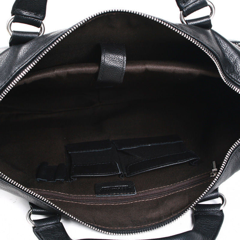 "Men's Casual Genuine Leather Real Cowhide BAG Briefcase Shoulder Purse Messenger for Laptop 14"" 15"""