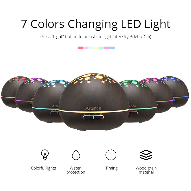 Wooden Aroma Essential Oil Diffuser (7 Color LED Lights)