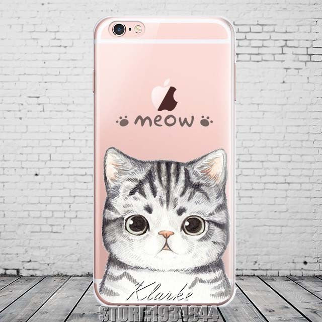 Cute Cat with Glasses Pattern Case Cover For iphone 6 6S 5 5s se 7 7PlusTransparent Soft Silicone Cell Phone Cases