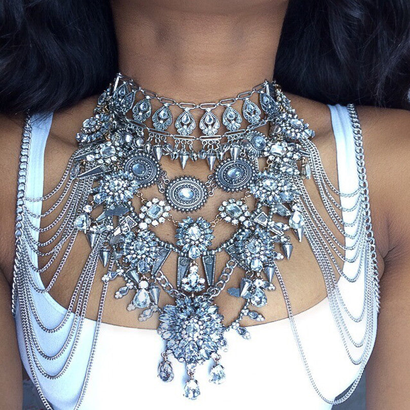 Sexy DIY Gem Summer Body Chain Luxury Chunky Metal Flower Necklace