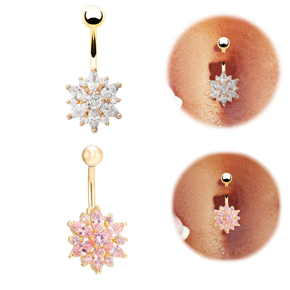 High quality Medical Steel Crystal Rhinestone Belly Button Ring