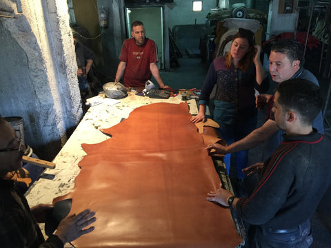 handcrafting tatreez leather tote bag in darzah