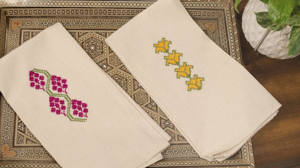 Tatreez Tea Towel Set: Cauliflower & Grapes - Darzah