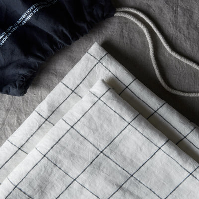 100% Linen Pillowcase Set - Black Grid