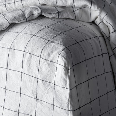 100% Linen sheet set - Black Grid
