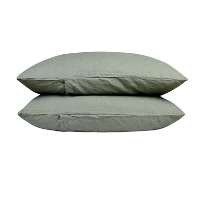 100% Linen Pillowcase Set - Khaki Green