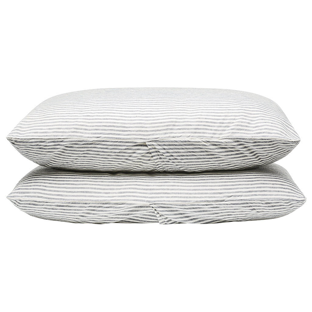 100% Linen Pillowcase set - Blue Stripe