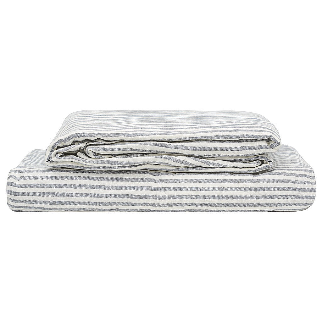 100% Linen Sheet Set - Blue Stripe. - TOW AND LINE