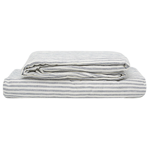 100% Linen Sheet Set - Blue Stripe