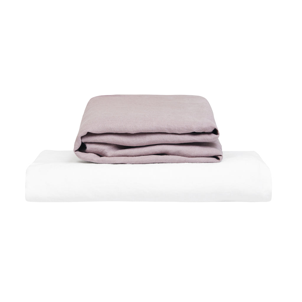 100% Linen Cot Sheet Set - Lilac and White