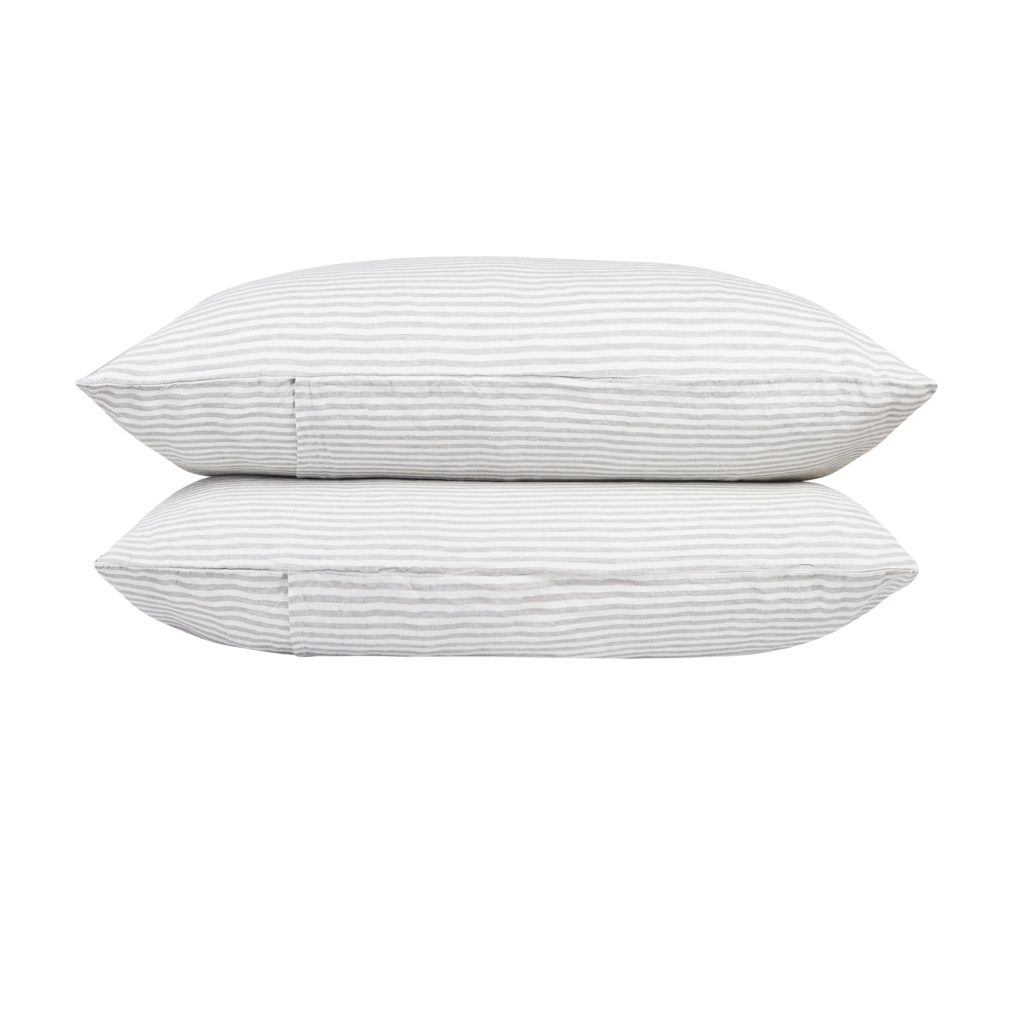 100% Linen Pillowcase Set - Grey Stripe