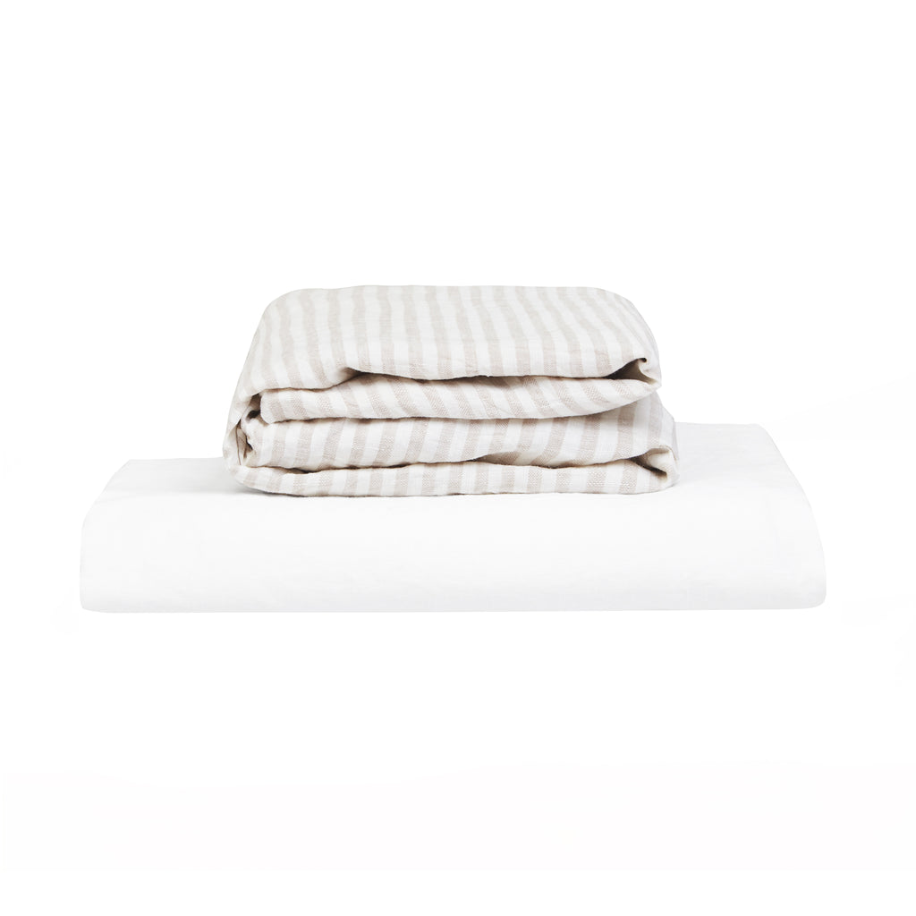 100% Linen Cot Sheet Set - Natural Stripe and White