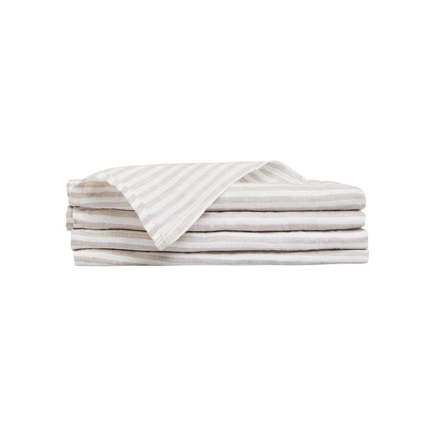 100% Linen Napkin Set - Natural Stripe