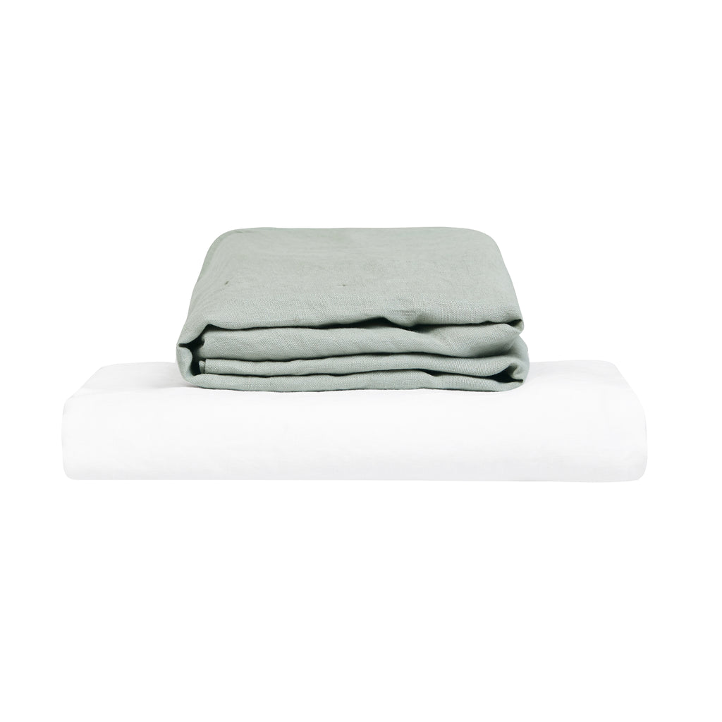 100% Linen Cot Sheet Set - Stone and White