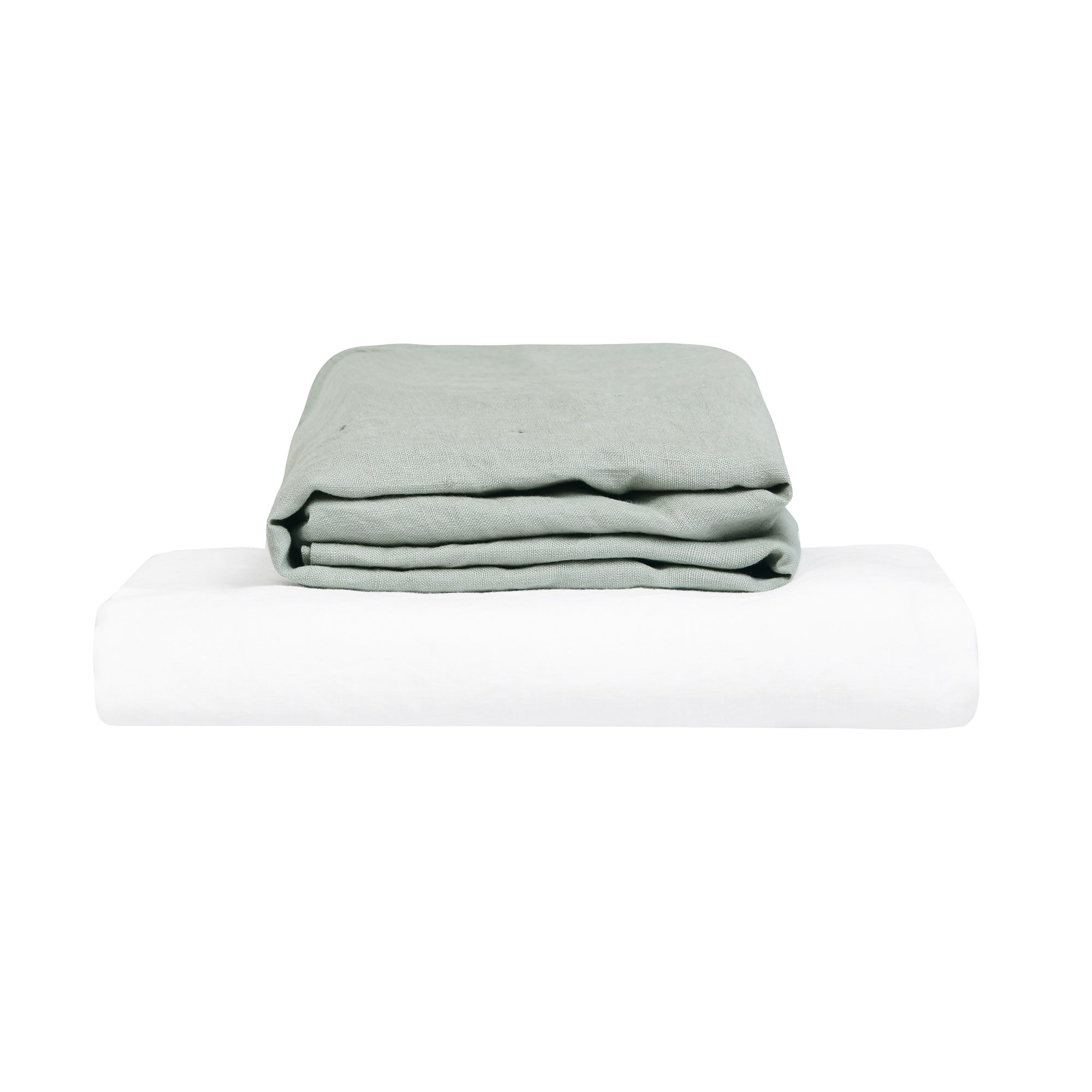 100% Linen Cot Sheet Set - Stone and White - TOW AND LINE