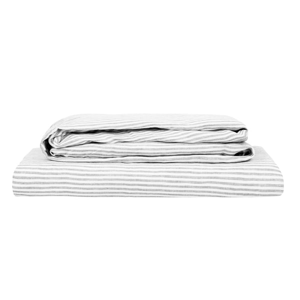 100% Linen Sheet Set - Grey Stripe
