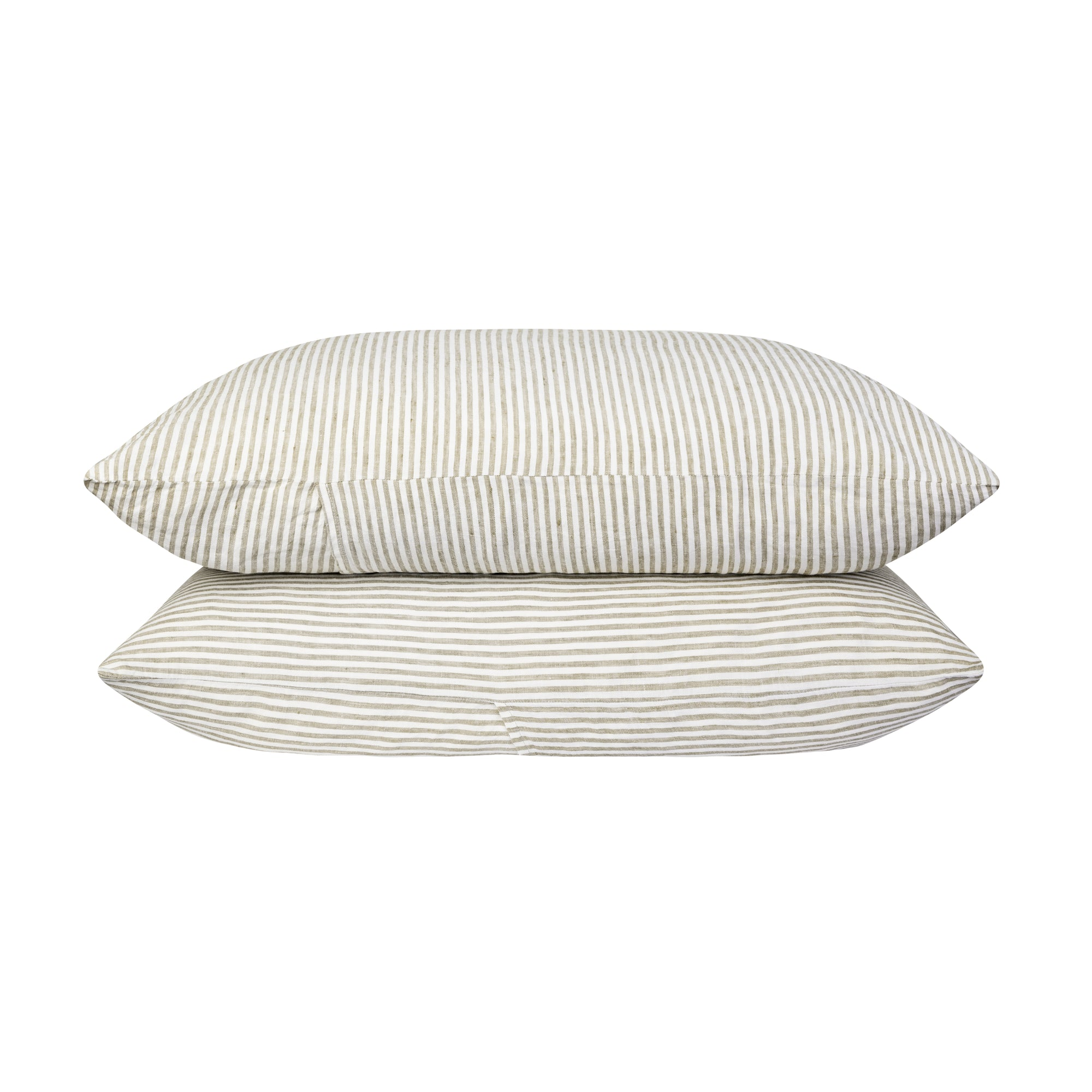 100% Linen Pillowcase set - Olive Stripe. - TOW AND LINE